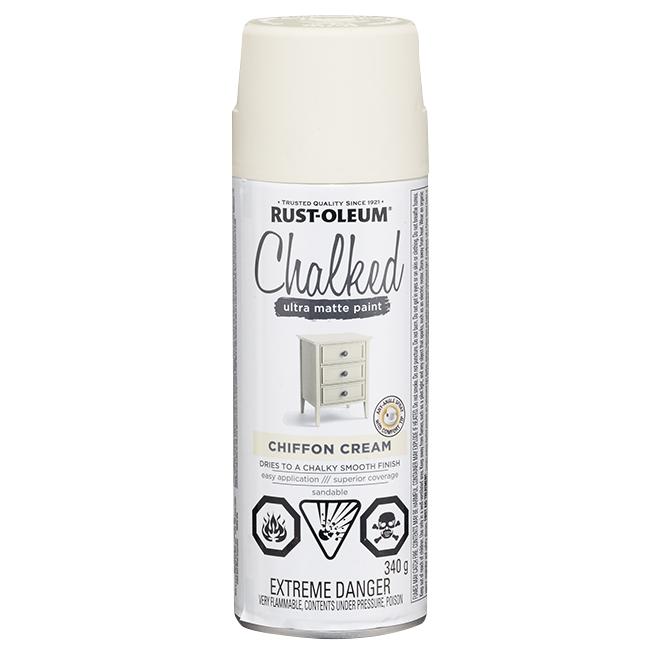 Rust-Oleum Aerosol Chalked Paint - 340 g - Ultra Matte - Chiffon Cream