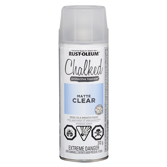 Rust-Oleum Aerosol Chalked Paint - Protective Topcoat - 340 g - Matte Clear