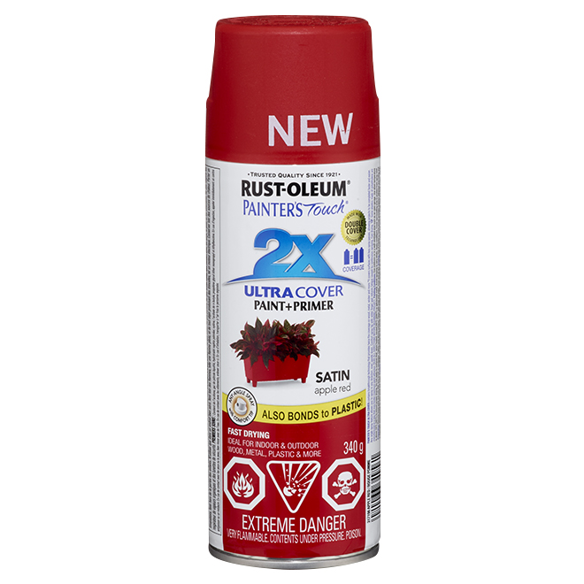 2X Ultra Cover Spray Paint - Interior/Exterior - 340 g - Satin Finish - Apple Red