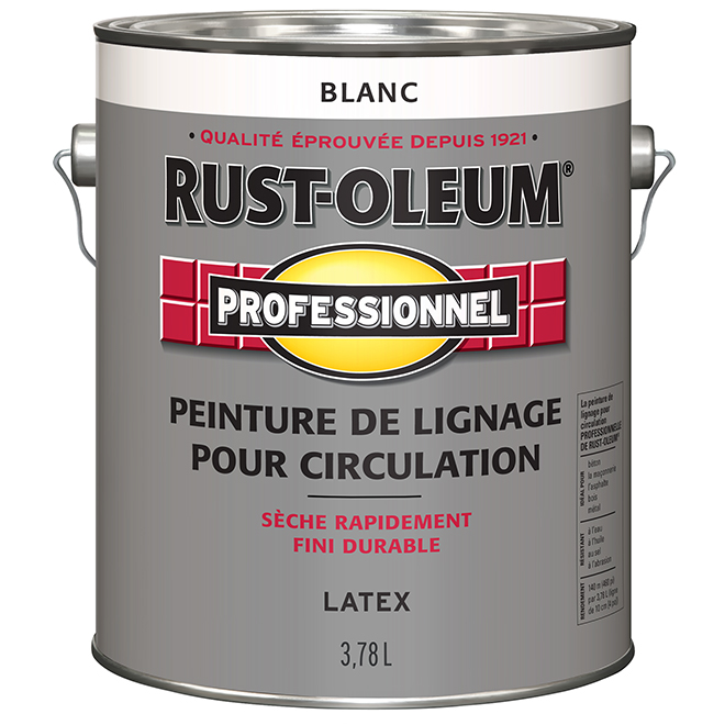Peinture de lignage pour circulation Rust-Oleum, latex, 3,78 l, blanc