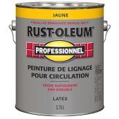 Peinture de lignage pour circulation Rust-Oleum Professionel, jaune, latex, pré teinté, 3,78 L