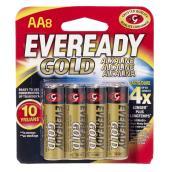 Piles alcalines AA, emballage de 8