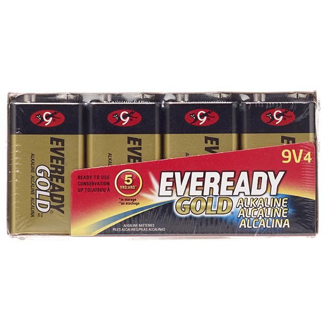 Alkaline 9 V Batteries - Pack of 4