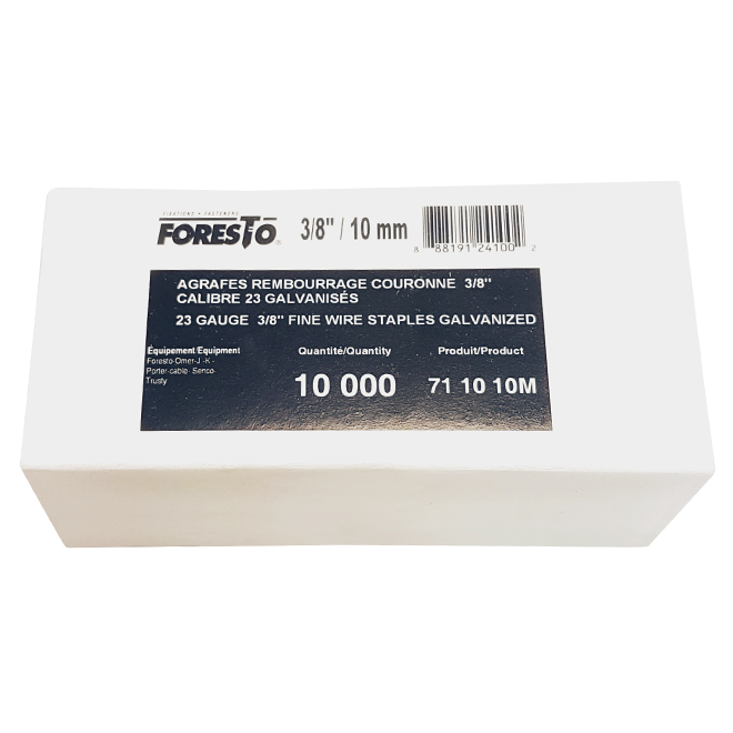 "Fine Staples - Galvanized - 3/8"" - Gauge 23 - 10,000/box"