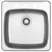 "3-Hole Single Sink - 20.5 x 20 x 7"" - Steel"