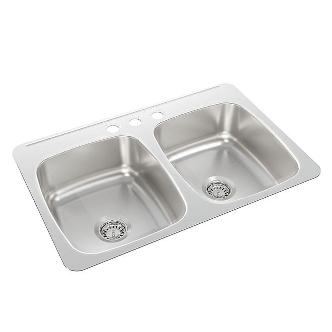 "Wessan Double Sink - Steel - 3-Hole - 31"" x 20.5"" x 7"""