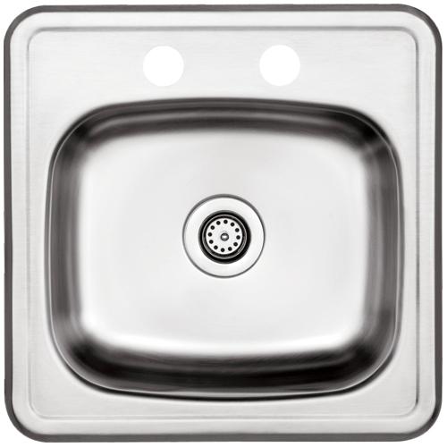 Uberhaus 2-Hole Single Sink - Brushed Stainless Steel