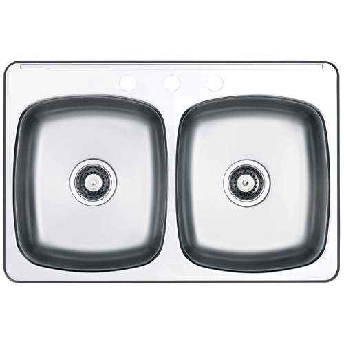 facto 3 hole double sink 20 5 x 31 5 x 7 brushed steel ro600d73