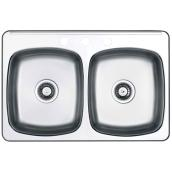 3-Hole Double Sink - 20.5 x 31.5 x 7