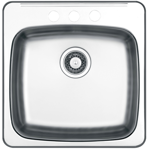 3-Hole Single Sink - 20.5 x 20.5 x 7\