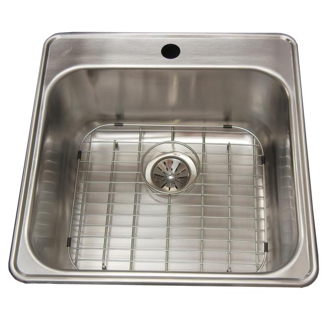"""1-Hole Single Sink - Grid - 20.5 x 20.8 x 9"""" - Steel"""