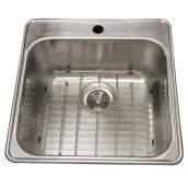 "1-Hole Single Sink - Grid - 20.5 x 20.8 x 9"" - Steel"