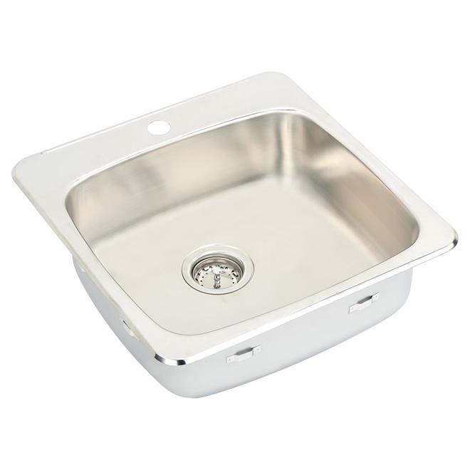 """1-Hole Single Sink - 7"""" x 20.5"""" x 20"""" - Steel"""