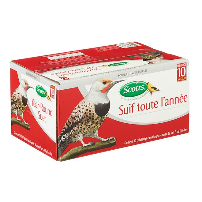 Suif pour oiseaux pour toute l'année Scotts, boîte de 10