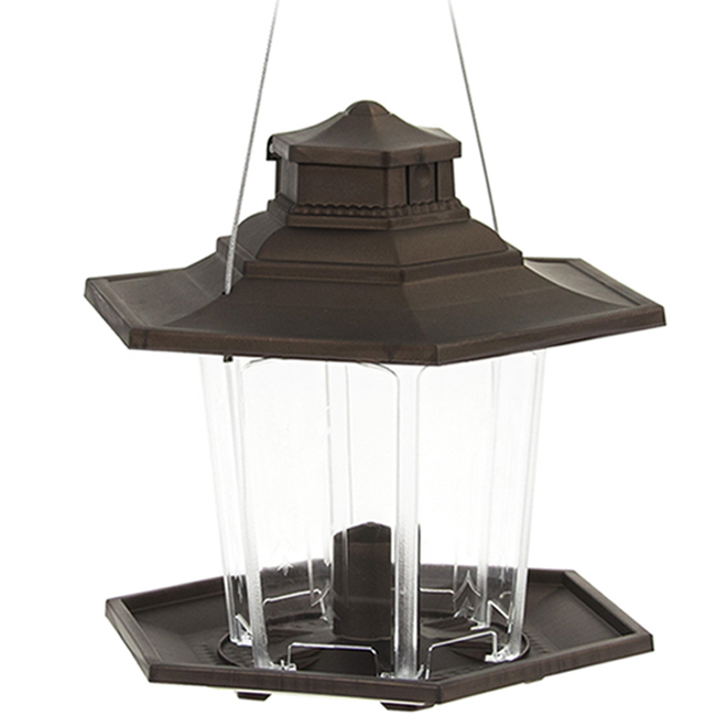 Mangeoire d'oiseaux lanterne Stokes, 2,6 lb, plastique, bronze mat