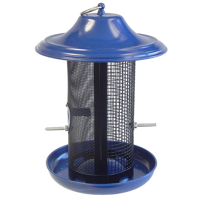 Mangeoire d'oiseaux avec double grillage Stokes, métal et plastique, 3,3 lb, cobalt