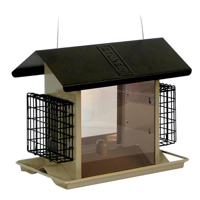 Mangeoire avec trémie et cages à suif Stokes, capacité de graines 5,11 lb, noir et beige