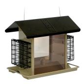 Stokes Bird Feeder with Hopper and Suet Cages - 5.11 lb Seed Capacity - Black and Beige