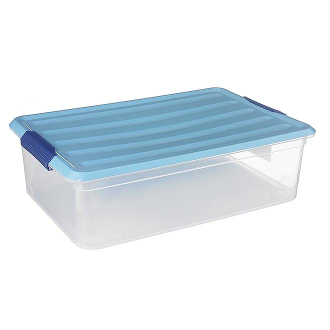 Boîte de rangement Omni Kis, plastique, 30 litres, clair et bleu