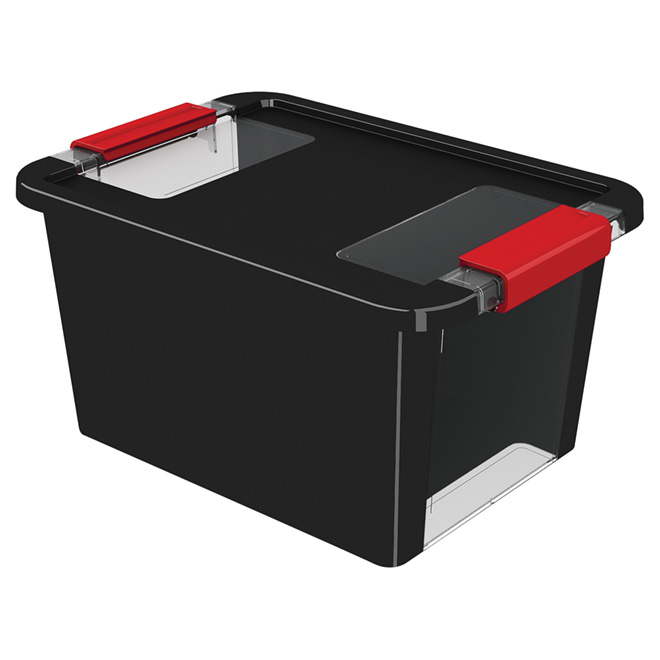 Kis Storage Box - Plastic - 11.6-Litres - Black and Red