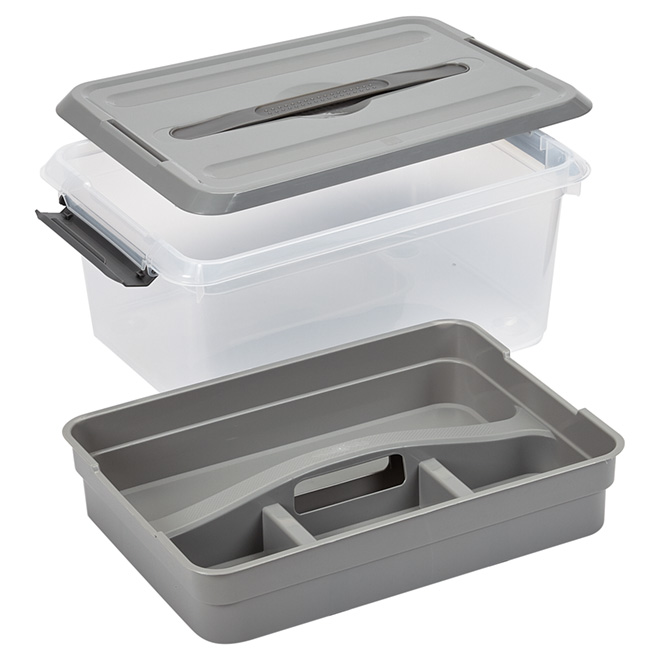 Kis Storage Bin with Tray - Latchmates  - Plastic - 14-Litre -  Clear and Grey