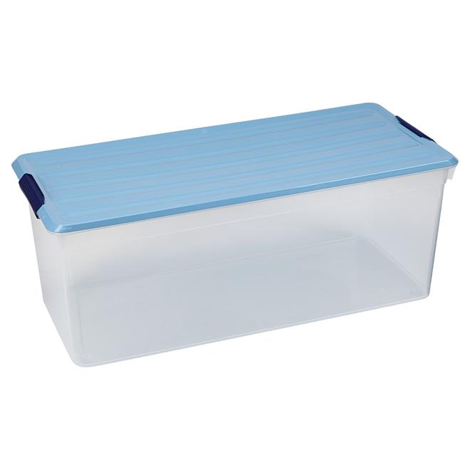 Boîte de rangement Kis Latchmates, plastique, 95 litres, clair et bleu