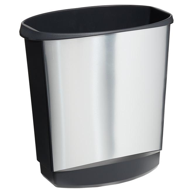 Open Wastebasket - 14 L - Black/Stainless Steel
