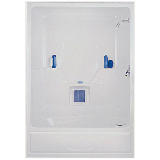 Maax Aspen Tub Shower with Right-Hand Drain - 1-Piece - Acrylic - White - 60-in x 32-in x 85-in