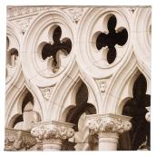 Wood and Cotton Sepia Laminated Canvas - Cathedral Arches