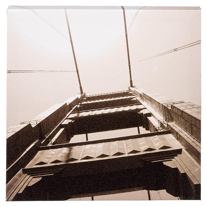 Wood and Cotton Sepia Canvas - Golden Gate Bridge