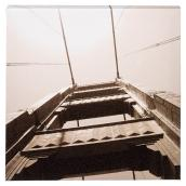 Canevas en bois et coton laminé sépia, Golden Gate Bridge