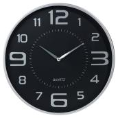 "Horloge murale 18"", noir/argent"