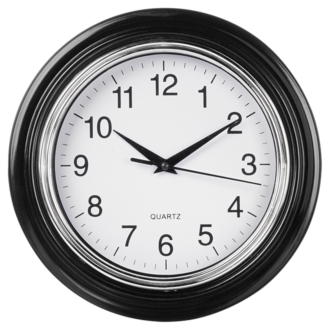 "Wall Clock - Aster - White/Black - 10"""