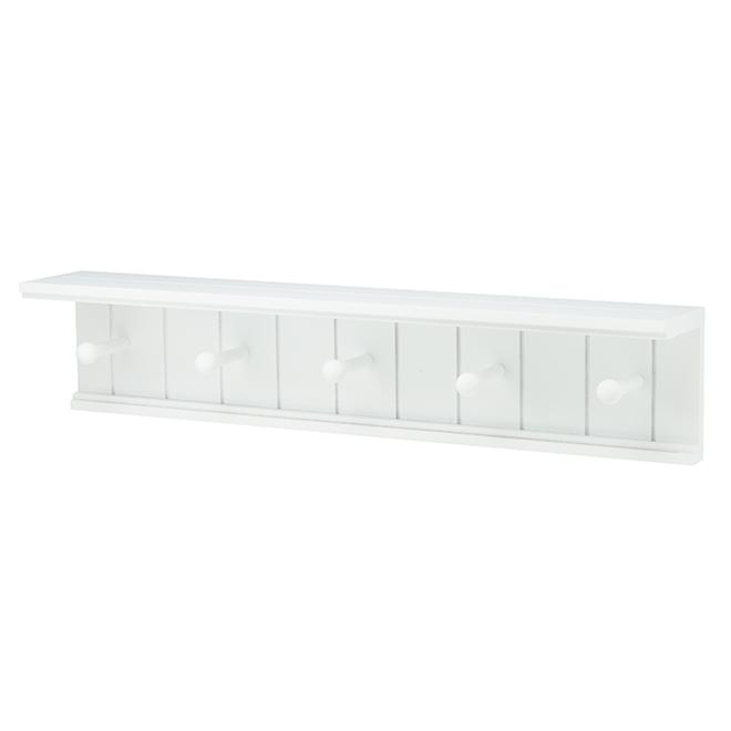 """Kian Shelf with Pegs - MDF - 24"""" x 4"""" x 5.25"""" - White"""