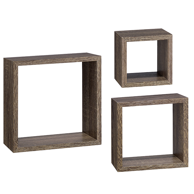 Set of 3 Cubbi Floating Shelves - MDF - Driftwood Grey