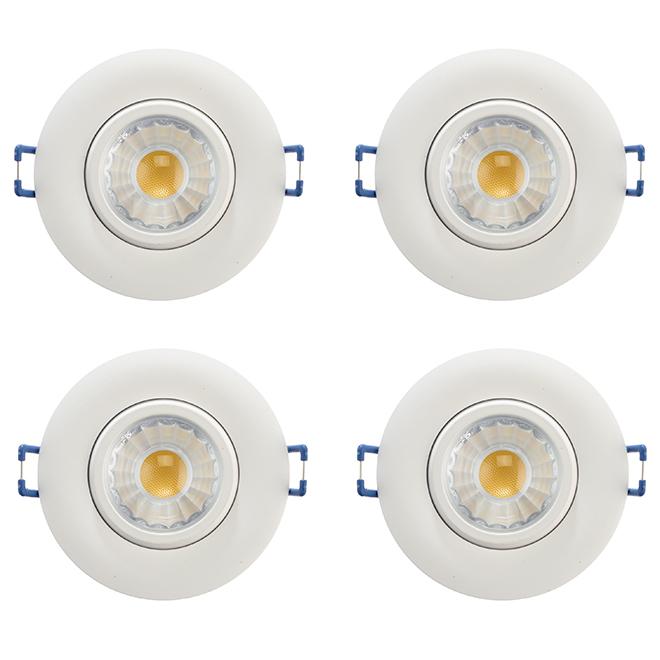 Ensemble de 4 lumières encastrées TRENZ Retina, DEL intégrée, ouverture de 3 po, blanc, 4000 Kelvins