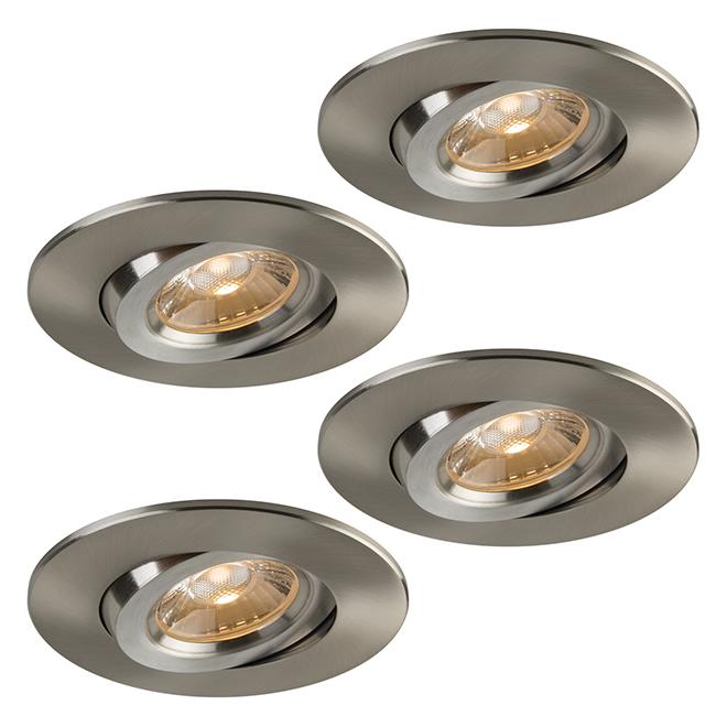 Lot de luminaires encastrables DEL TRENZ Retina, intensité variable, 60 W, 4 po, nickel brossé, 4 unités