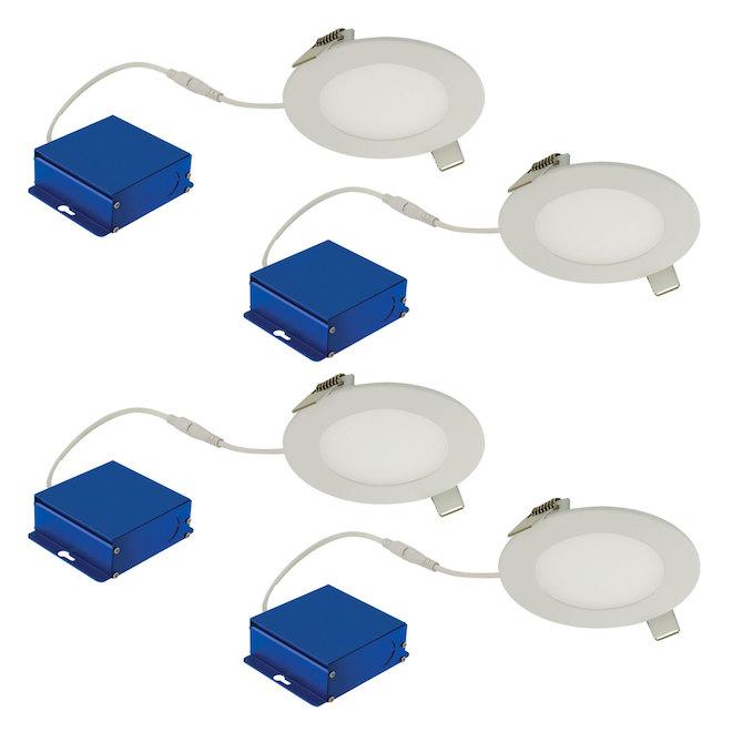 Luminaires ronds encastrés TRENZ ThinLED, 4 po, blanc, paquet de 4