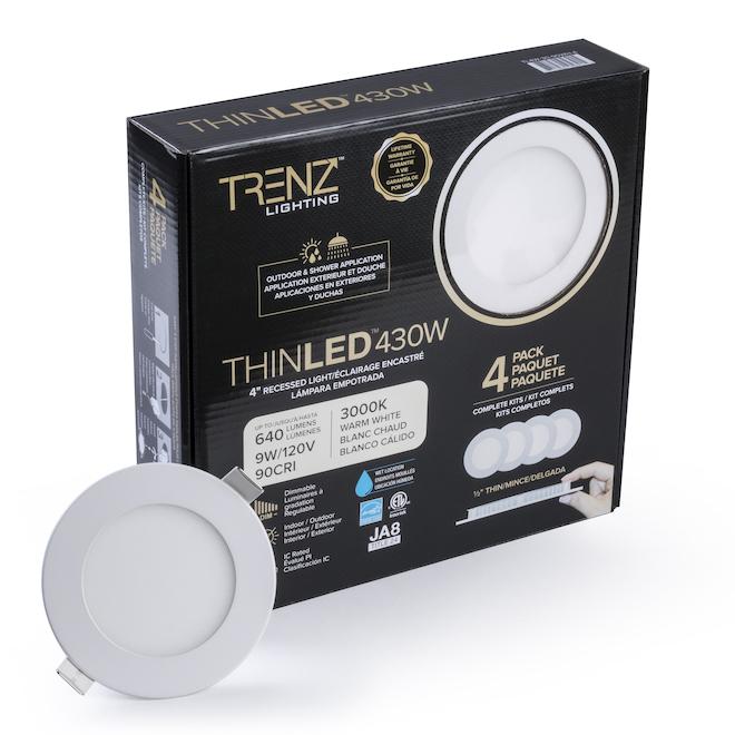 Ensemble de lumières encastrées rondes TRENZ ThinLED, 4 po, blanc chaud, paquet de 4