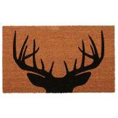 Carpette avec motif tête de chevreuil, 18'' x 30'', naturel