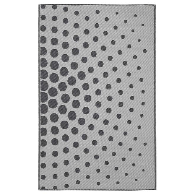 Tapis d'extérieur réversible Dune, 5' x 8', gris