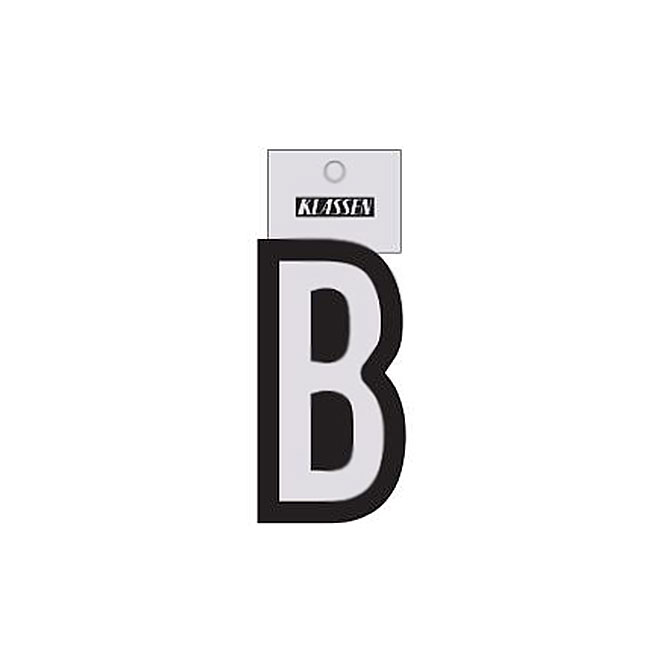 "Reflective Letter - Vinyl - B - 3"" - Black and Silver"