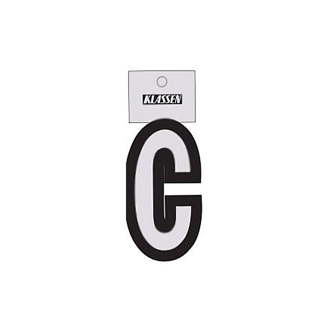 """Reflective Letter - Vinyl - C - 3"""" - Black and Silver"""