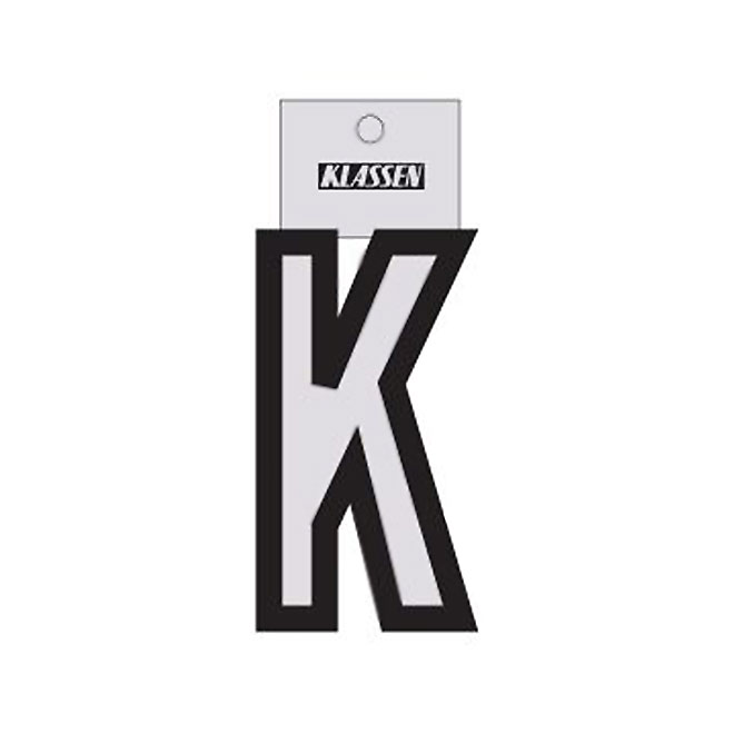 "Reflective Letter - Vinyl - K - 3"" - Black and Silver"
