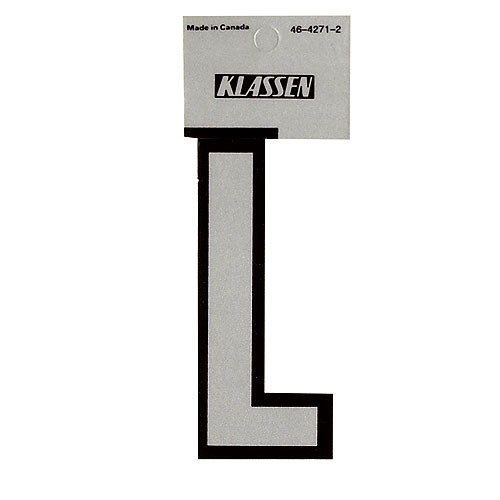 """Reflective Letter """"L """"- 3"""" - Black and Silver"""