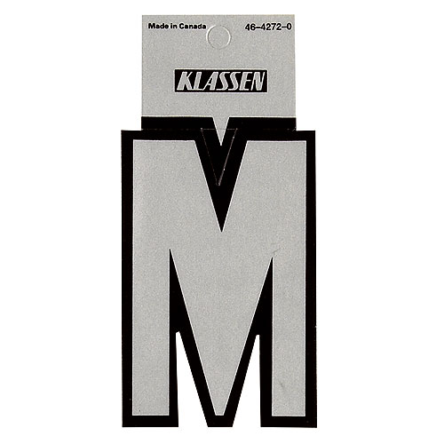"Reflective Letter ""M"" - 3"" - Black and Silver"