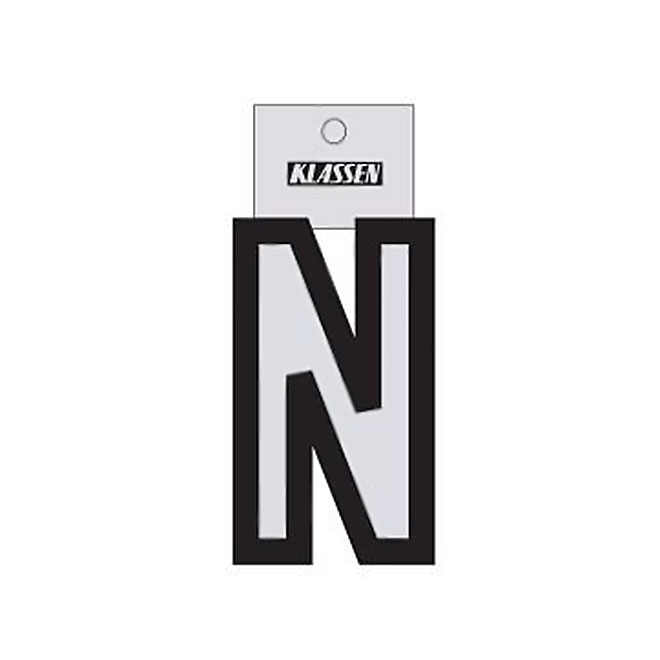 """Reflective Letter - Vinyl - N - 3"""" - Black and Silver"""