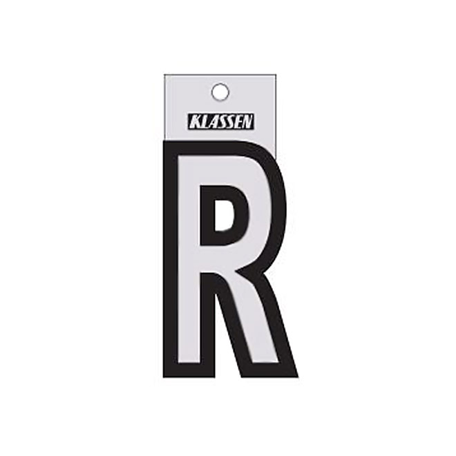 "Reflective Letter - Vinyl - R - 3"" - Black and Silver"