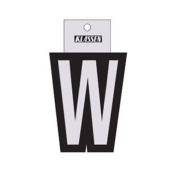 "Reflective Letter - Vinyl - W - 3"" - Black and Silver"