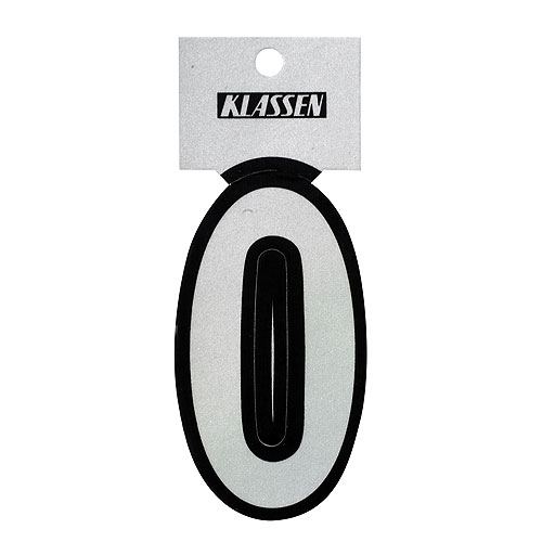"Reflective Number - Vinyl - #0 - 3"" - Black and Silver"